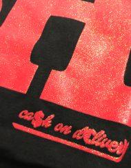 cash t black red glitter close up